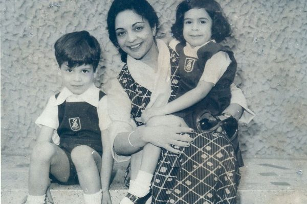 Mrs. Pasrich with Rahul and Priyanka Gandhi